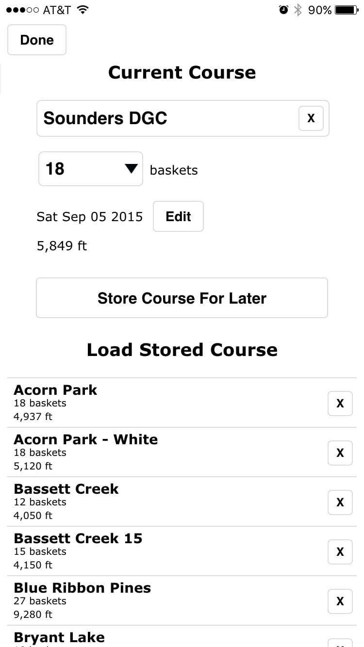 Disc Golf ScoreCard screenshot of courses screen