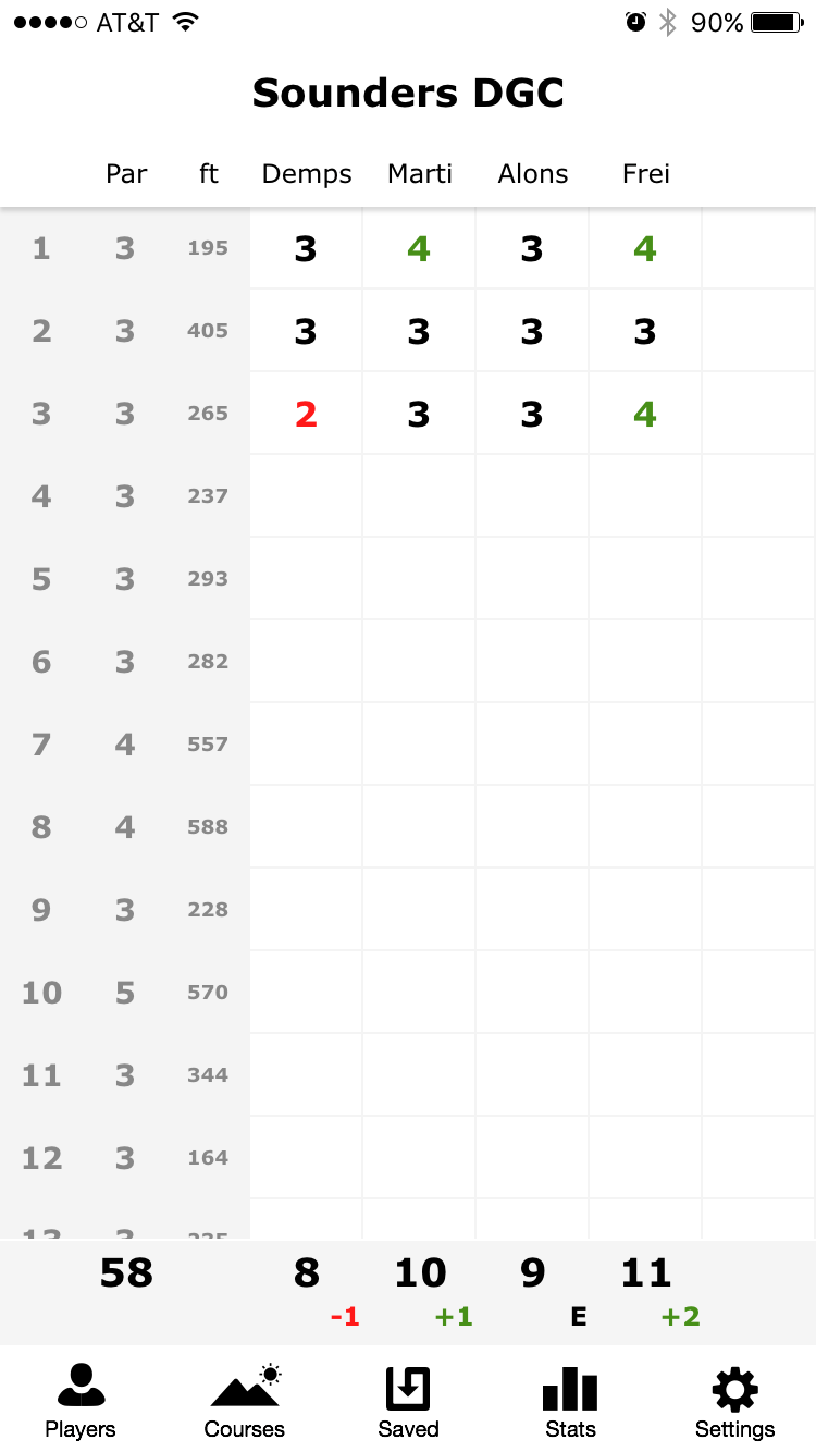 Screenshot of Disc Golf ScoreCard