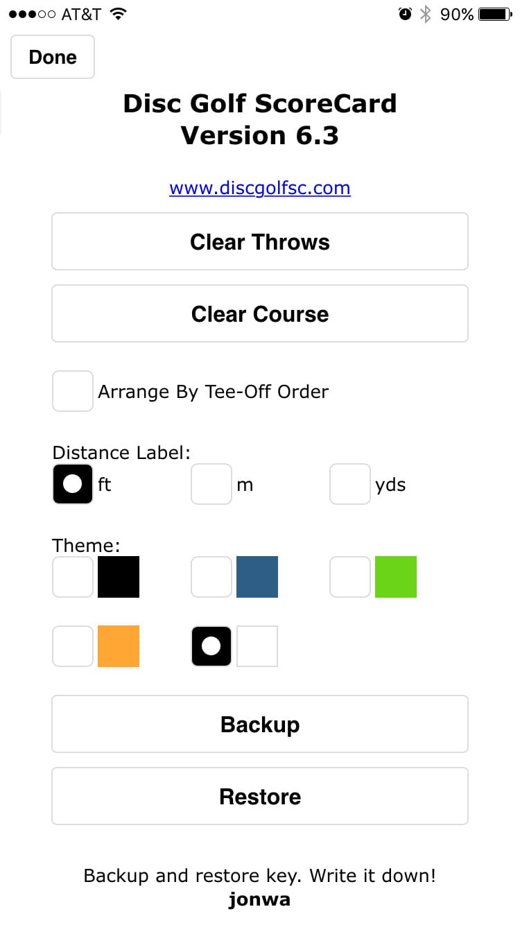 Disc Golf ScoreCard screenshot of settings screen