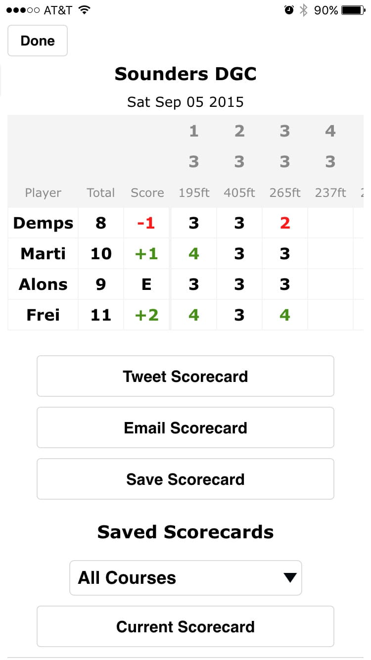 Disc Golf ScoreCard screenshot of summary screen